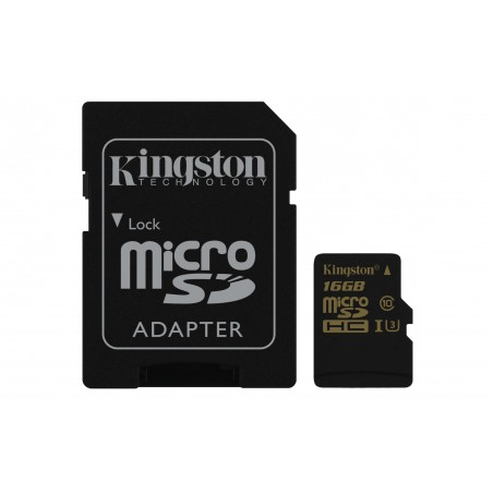 Kingston SDCG 16GB Tarjeta de Memoria microSD de 16 GB y Adaptador SD