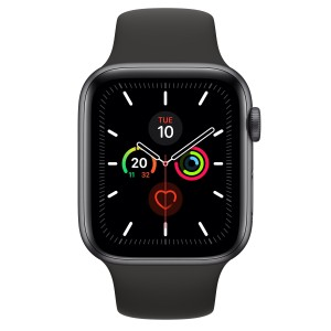 Apple Watch Series 5 GPS 44mm Gris Espacial con Correa Deportiva Negra